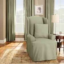 Sure Fit Cotton Duck Wing Chair T-Cushion Slipcover SAGE