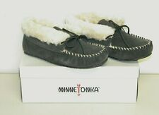 Women's, Minnetonka, Judy Junior Suede Bootie, Slippers, Charcoal/White, Size 7M
