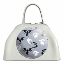 Black and White Dragons Pattern White Metal Cowbell Cow Bell Instrument