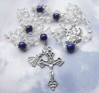 New Crystal AB Glass Bead Holy Family Infant of Prague Medal Christmas Rosary #c