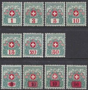 Schweiz Switzerland Postage Due 1910-38 (6 sets, 3 missing) * MH (3 pages)