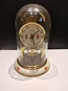 Vintage Schatz (8 Day) German Wind Up Enameled Brass Clock with Glass Dome