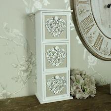 Antique en bois blanc coeur bijou bijoux poitrine shabby vintage chic fille cadeau