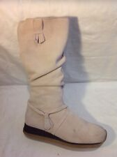 Attitude Beige Mid Calf Suede Boots Size 7