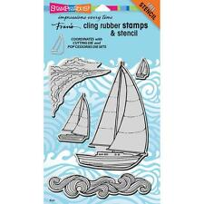 SAILBOAT Set Unmounted Cling Rubber Stamps Set by Stampendous CRS5089 NEW