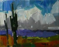 "JOSE TRUJILLO OIL PAINTING 8X10"" Impressionism Impasto MODERN CLOUDS ARIZONA 007"