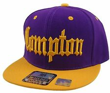 COMPTON 3D EMBROIDERED FLAT BILL SNAPBACK BASEBALL CAP HAT PURPLE/GOLD