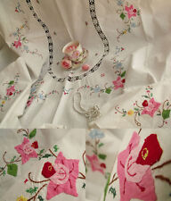 """Shabby PINK Roses HAND Applique Cross-stitch Crochet Vtg tablecloth White 54x65"""""""
