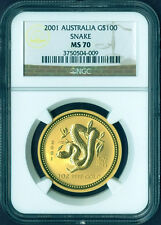 2001 AUSTRALIA Lunar YEAR of SNAKE 1 oz pure Gold G$100 Coin NGC MS70