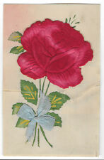 Charming Fabric Rose on Celluloid, Unposted PPC, pre WW1