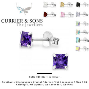 925 Sterling Silver Square Cubic Zirconia Stud Earrings (4mm)