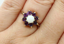 9 CARAT YELLOW GOLD, AMETHYST & OPAL FLOWER RING, SIZE O 1/2, ANTIQUE, FEBRUARY