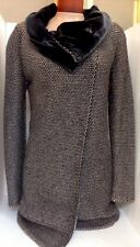 Etro Coat Brown And Cream Knit With Velvet Collar Size 40