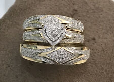 His & Her 3-pcs Trio Ring Set 14K Solid Gold Over 2.5Ct Dainty Wedding Diamond