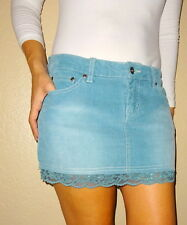 YMI Tillys  corderoy  lace pockets trim blue teal women's skirt | 3 | YMITillys