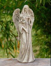 """16"""" Beautiful Angel with Flowers and Bird Statue Garden Memorial Wood Tones"""
