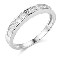 14k White Gold Over 1 Ct Princess Cut Engagement Wedding Anniversary Band Ring