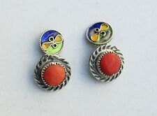 Antique Solid Silver Cufflinks Cuffs with Enamel and Red Coral Art Deco