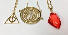 Harry Potter Time Turner Necklace, Deathly Hallows & Philosopher's Stone Bundle