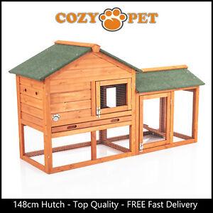 Rabbit Hutch 148cm by Cozy Pet Natural Guinea Pig Hutches Run Rabbit Ferret Runs