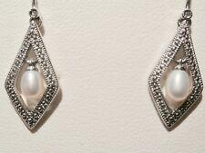 Pearl & Cubic Zirconia Drop Sterling Silver Kite Shaped Earrings