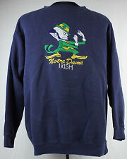 Vtg Notre Dame Fighting Irish Sweatshirt Mens Lg Cotton Poly Embroidered Blue