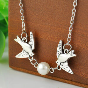Women's Double Flying Bird Animal Pearl Pendant Necklace Silver Plated