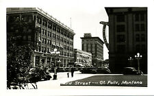 """MT Montana Great Falls: """"Looking South on 3rd"""" Unposted Real Photo RPPC"""