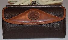 Dooney & Bourke All Leather Vintage Checkbook Organizer Wallet Chocolate/Tan