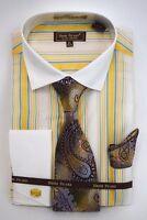 Men's Dress Shirt Tie Hanky Ivory/Yellow/Blue/Pink Cuff Links French Cuff