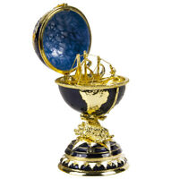 Navy Blue Globe Shaped Faberge Egg Replica Trinket Box, Easter Gift, 14.5 cm