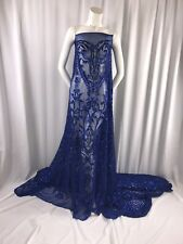 """ROYAL BLUE STRETCH MESH W/ROYAL SEQUIN EMBROIDERY LACE FABRIC 52"""" WIDE 1 YARD"""