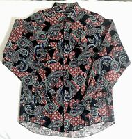 Vintage Wrangler Mens Cowboy Cut Bandana Print Paisley Shirt 16.5x35 Made In USA