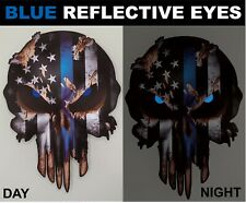 Thin Blue Line Skull Decal Reflective Window Sticker Car Truck Police Officer
