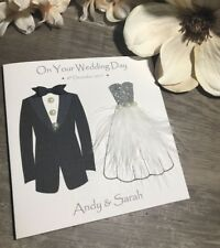 Beautiful Handmade Wedding Day Card- men/women bride & groom personalised