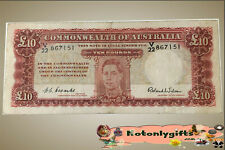 10 Pound R61F Coombs-Wilson 1952 (V/22) – First Prefix  ....   Fine & Scarce