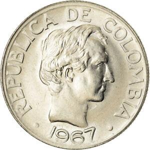 [#783887] Coin, Colombia, 50 Centavos, 1967, AU, Nickel Clad Steel, KM:228