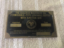 Vintage Brass Sullivan Mining Machinery Tag-Dept of Interior Bureau of Mines