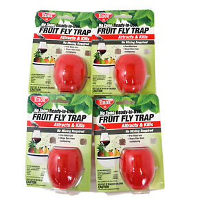 4 Pack Enoz No Zone Ready To Use Fruit Fly Trap No Mixing Required .50 fl. oz.