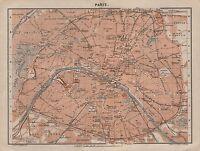 1905 BAEDEKER OLD TOWN PLAN-FRANCE-PARIS