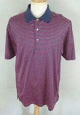 PETER MILLAR Mens Luxury 100% Cotton Golf Polo Shirt L Large Purple Pink Striped