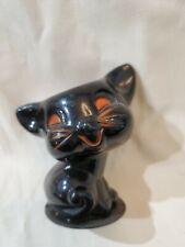 Old Halloween Black Cat Hard Plastic Candy Container