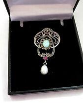 Sterling Silver Art Nouveau Plique a Jour Gilson opal & Ruby Brooch Pin Pendant
