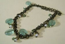 Bracelet very pretty bronze tone metal chain with blue/green light tone beads