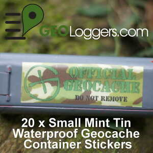 20 x *NEW* GEOLoggers Mint Tin Small Geocaching / Cache Stickers WATERPROOF!