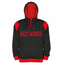 Detroit Red Wings Quarter Zip Hoodie 2XL Black Embroidered Logos Majestic NHL