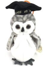 "Wiser Plush 7"" The Owl Class of '99 Gray Black Rigid Heart Tag Protector Retired"