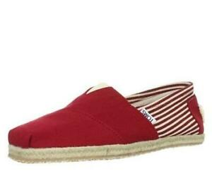 Toms University Classic Rope Slip-On Red Stripe Men's Shoes Sz 10 M *New in Box*