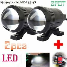 U1 LED Motorcycle Light Headlight Driving Fog Spot Lamp+Switch For Indian Bike