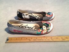 ED HARDY WOMEN'S GEISHA GIRL CANVAS SLIP-ON SHOES US 7 MULTI-COLOR